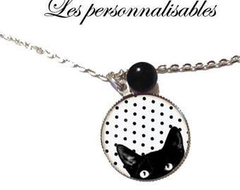 NECKLACE cute curious black cat under glass dome