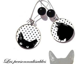 These earrings cute curious black cat red 25 mm