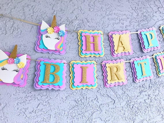 Unicorn Birthday Banner: Unicorn Banner/ Unicorn Happy Birthday Banner/ Unicorn