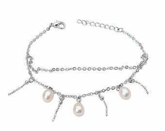 Bracelet of freshwater pearls and silver plated