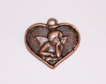 Heart copper charm, 16 mm