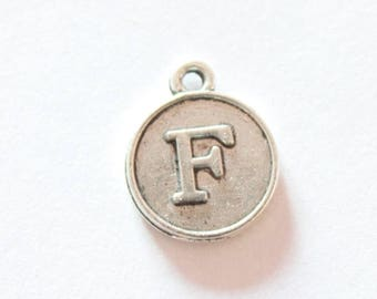 Silver metal charm, letter F, about 15 * 12 * 2 mm