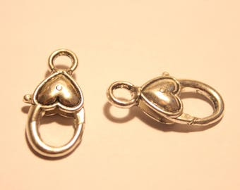 Tibetan silver lobster clasp, 27 mm, set of 2