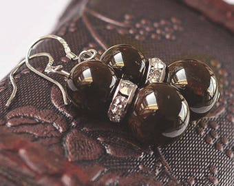 Beautiful pair of black Garnet earring and Crystal