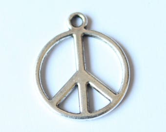 20 mm, set of 2 silver peace symbol charm