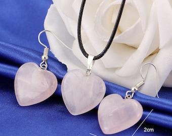 beautiful parure necklace earrings rose quartz heart beads