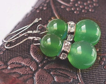 Beautiful pair of green agate earring, Crystal and 925 sterling silver