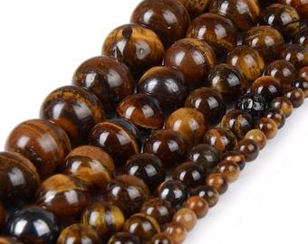 Round 14 mm, set of 5 Tiger eye stone beads