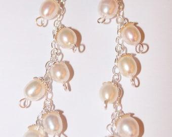 Earring dangle Freshwater Pearl silver sterling silver silver