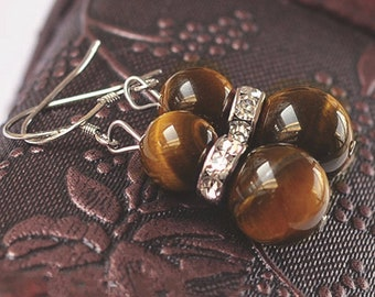 Beautiful pair of Tiger eye earring, Crystal and 925 sterling silver