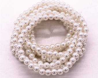 set of 6 bracelets glass beads 6mm choose cream or white wedding jewelry