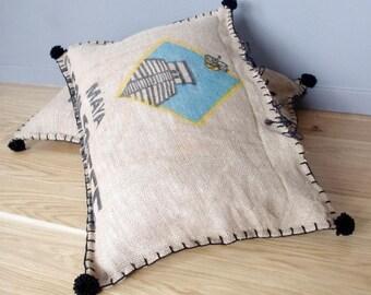 Coussin de sol vintage en sac à café en  jute à motif maya