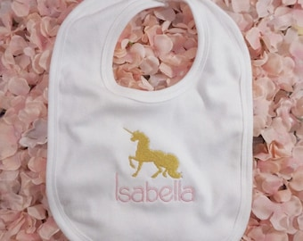 Unicorn baby bib, personalised, embroider, gold unicorn