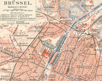 Brussels map   Etsy