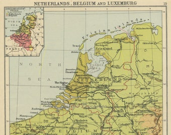vintage netherlands map holland map benelux map belgium map luxembourg map