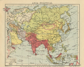 Vintage Asia Map Colourful Asia Prints Asia Gift Asian Wall Etsy