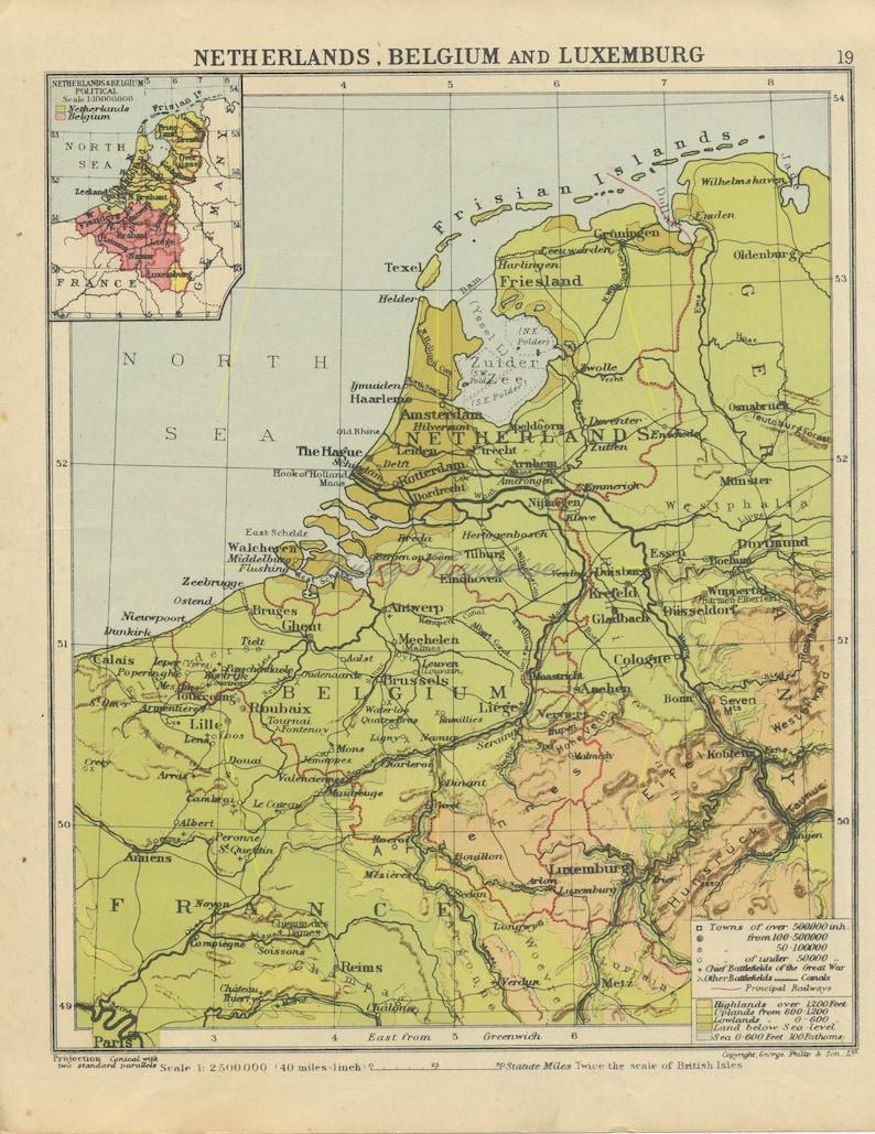 Karte Von Holland Landkarte Niederlande.Landkarte Der Niederlande Holland Karte Benelux Karte Belgien Karte Luxemburg Karte Holland Druck Niederlande Souvenir Belgien Geschenk 1945