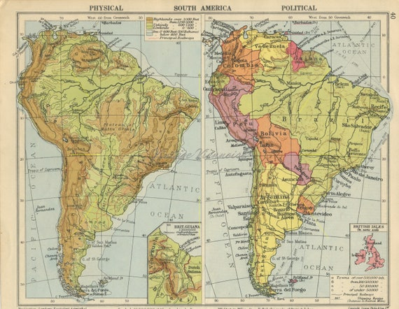Vintage South America map. Double-sided. Central America map. West Indies  map. South America print. South America decor. Americas map. 1945
