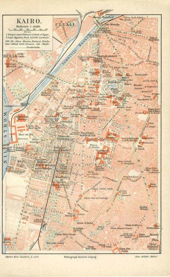 Cairo map. Antique Cairo map print. Cairo city map. Vintage | Etsy