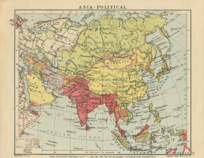 Vintage Asia map. Middle East map print. Double-sided. Asia print. Caucasus  map. Middle East gift. Asia decor. Asia souvenir. 1945