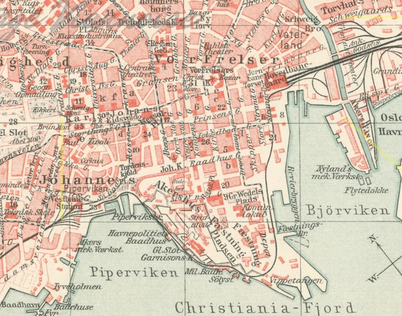 Cartina Della Norvegia Da Stampare.Antica Mappa Della Citta Di Oslo Oslo Mappa Stampa Mappa Di Etsy