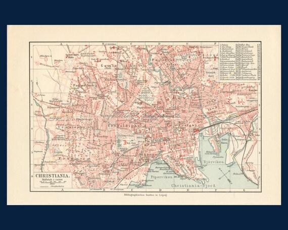 Cartina Della Norvegia Da Stampare.Antica Mappa Della Citta Di Oslo Stampa Mappa Oslo Mappa Etsy