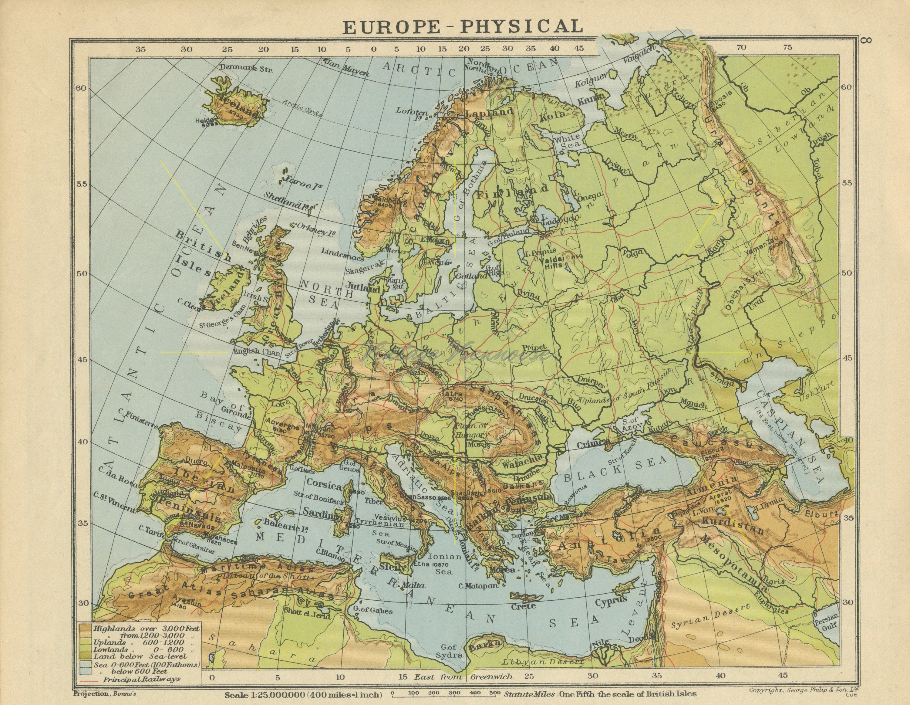 Map Of Europe With Scale.Vintage Europe Map Europe Print Europe Gift Europe Decor Etsy