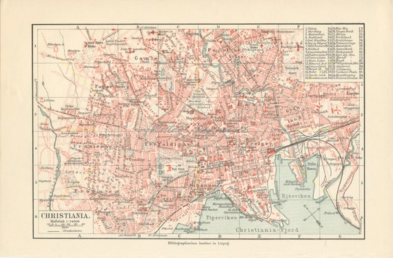 Antique Oslo City Map Oslo Map Print Norway Map Norway Wall Art Norway Gift Oslo Fjords Print Kristiania Map Christiania Map 1908