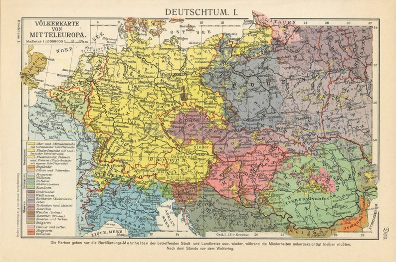 Vintage German Language Map Linguistic Map Europe Central Etsy