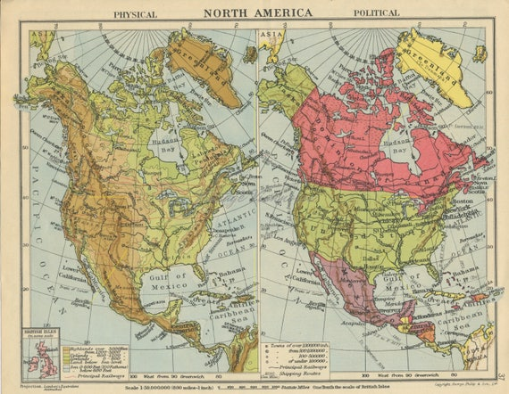 America Map 50 States.Vintage United States Map North America Map Double Sided Usa Map Print Us Map Canada Map United States Decor Usa Souvenir 1945