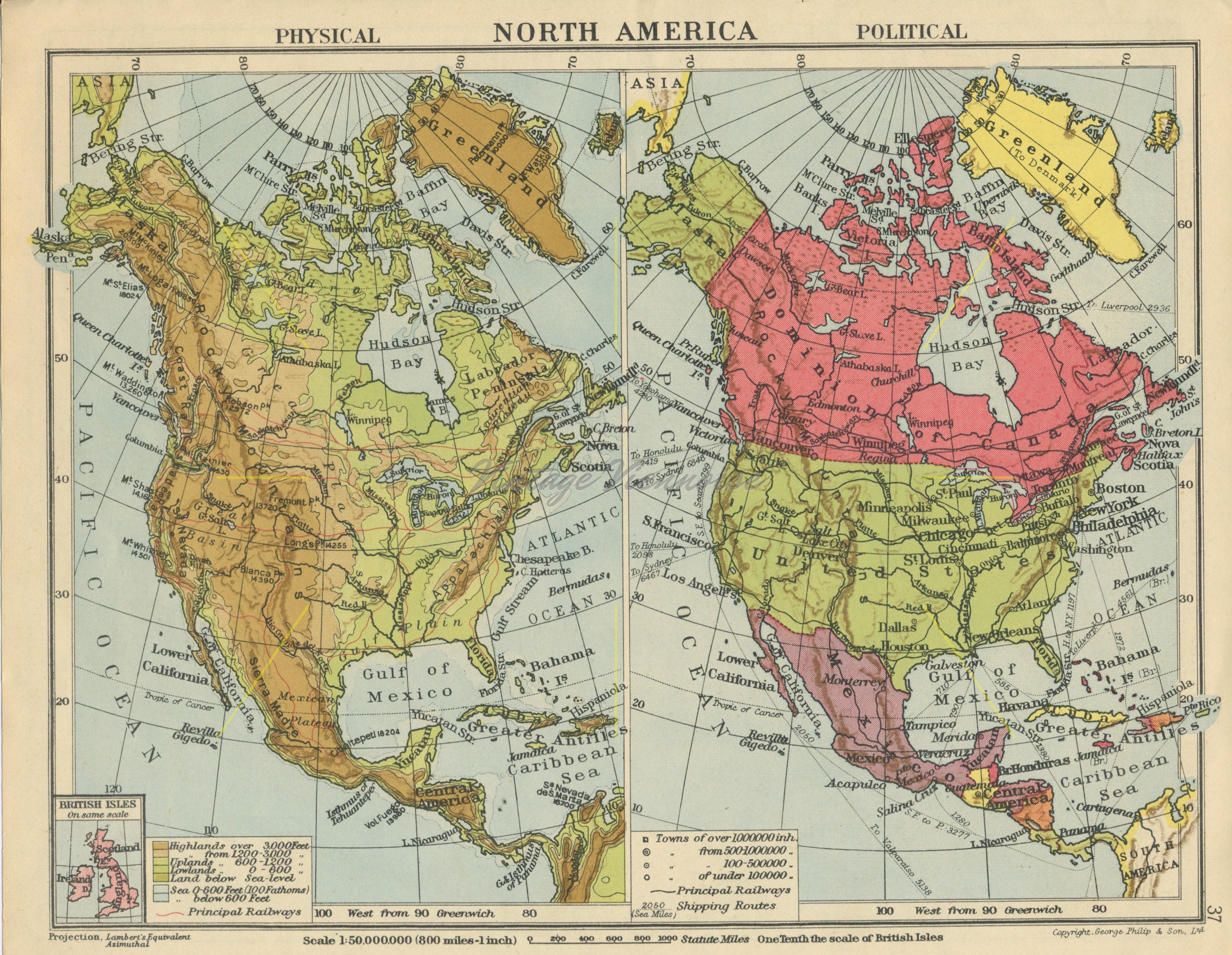 Vintage United States map. North America map. Double-sided.   Etsy