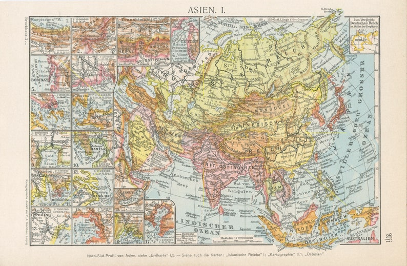 Map Of Asia 1930.Vintage Asia Map Colourful Asia Prints Asia Gift Asian Wall Etsy