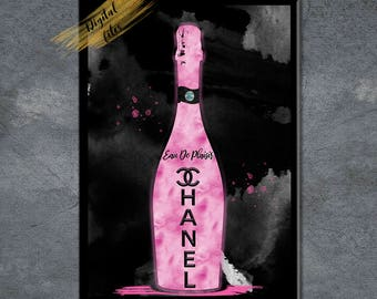 Pink & Black Fashion Champagne Illustration - Eau De Plaisir Wall Art - Bar Decor - Pink Bottle - Bartender Gift Ideas - Fashion Art Work