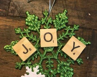 Scrabble Snowflake Christmas Ornament