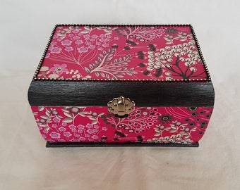 Pink and black wooden box
