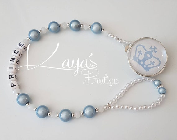 Silver Shamballa White Diamante Lux Personalised Crystal Bling Baby dummy clip