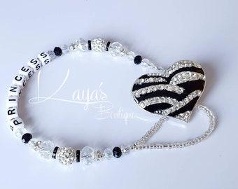 Rhinestone Zebra Heart- Shamballa Crystal Romany Keepsake Dummy/Pacifier Clip Personalised Black Silver Reborn