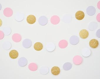 unicorn banner, unicorn party, circle paper garland, unicorn party decor, unicorn garland, pink and purple garland, pink and gold banner