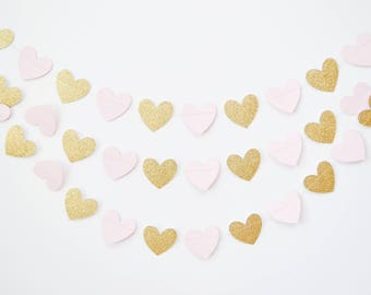 gold and pink heart garland, pink and gold banner, valentines day decor, valentines garland, heart decor, valentines banner, wedding