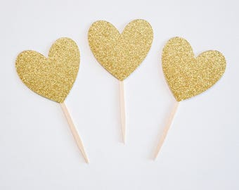 heart cupcake toppers, heart toppers, valentines day cupcake toppers, valentines toppers heart cupcake gold glitter heart valentines cupcake