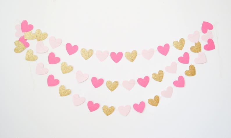 gold and pink garland heart banner heart bunting pink and gold heart garland valentines garland heart decor paper heart garland