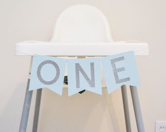 one highchair banner banner, one banner, high chair decor, 1st birthday banner, boy birthday banner, cake smash banner sign blue and silver