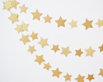 star garland, gold star garland, wedding garland, paper garland, star banner, twinkle little star, star bunting, gold wedding decor