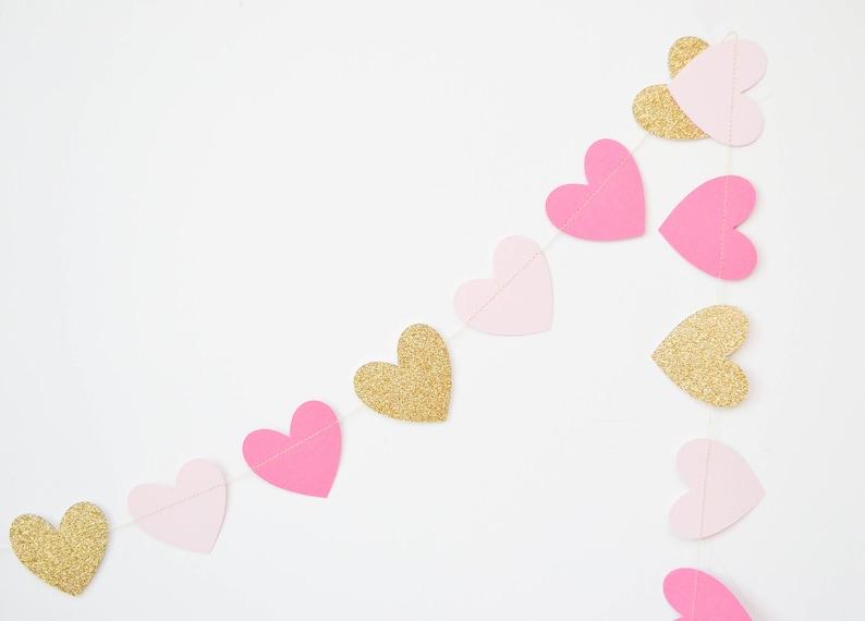 gold and pink garland heart banner heart decor valentines garland pink and gold heart garland paper heart garland heart bunting