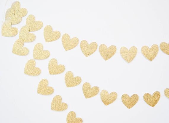 CARDS GOLD HEART Banner//Bunting Handmade Wedding Birthday Party Garland Sign