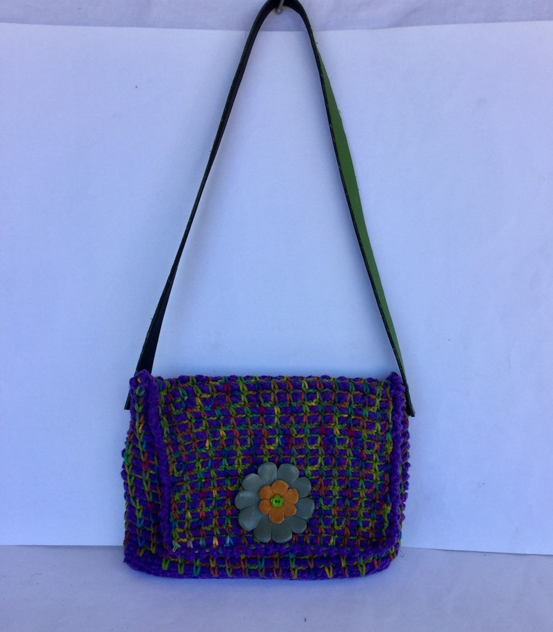 Flat purple cotton crochet bag with leather flower and shoulder strap cheerful multicolored tablet folder made entirely by hand