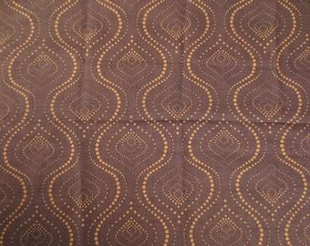 Fabric tarlatan oriental pattern - 148 x 100 cm - Brown and ochre