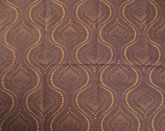 Fabric tarlatan oriental pattern - 148 x 198 cm - Brown and ochre