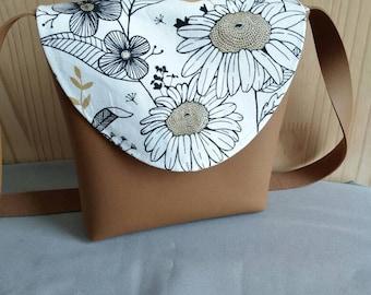 Shoulder bag, tanning leather imitation, flowers, brown, handbag, satchel, Mother's Day, gift