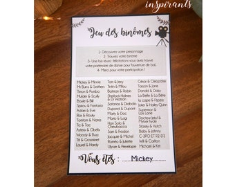 Card set of wedding pairs to print yourself